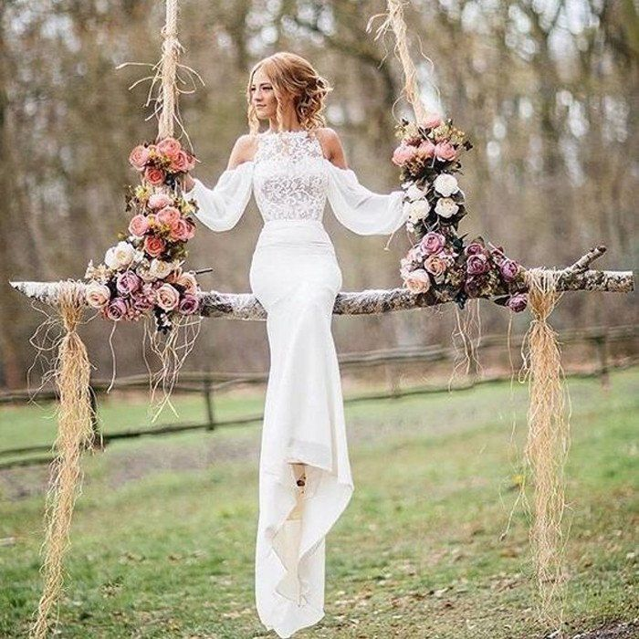 Affordable Unique Design Lace Top Long Sleeves Mermaid Wedding Dress Bg51581