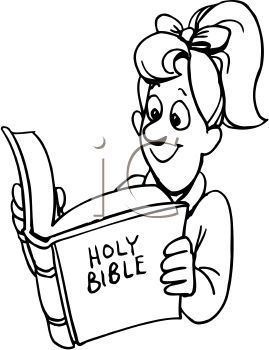 drawings of people reading | Girl Reading the Bible Clip Art ...