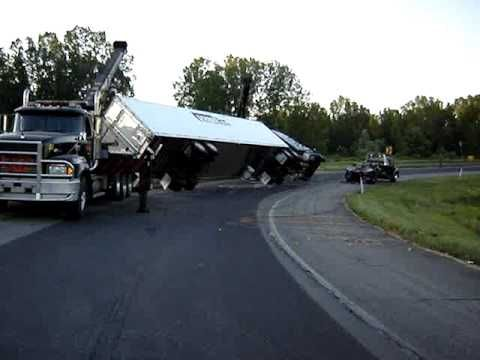 This Truck Rolled Over After Going Into The Curve Too Fast