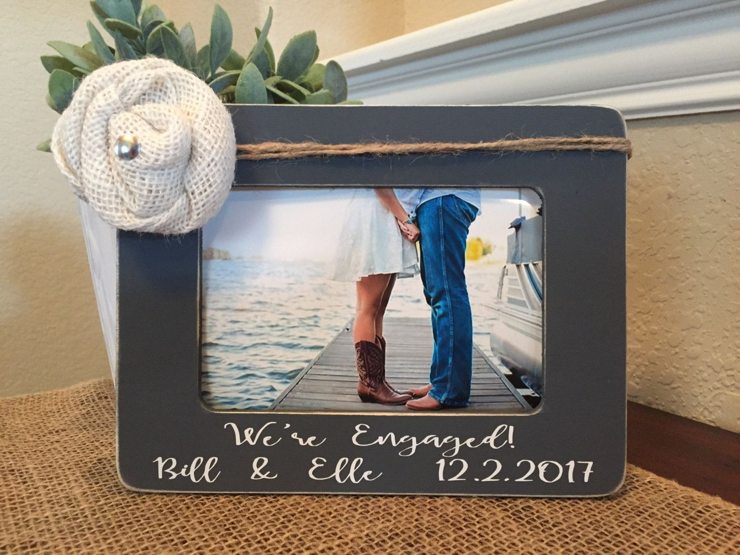 Engagement Gift Personalized Engagement Frame Wedding Gift She Said
