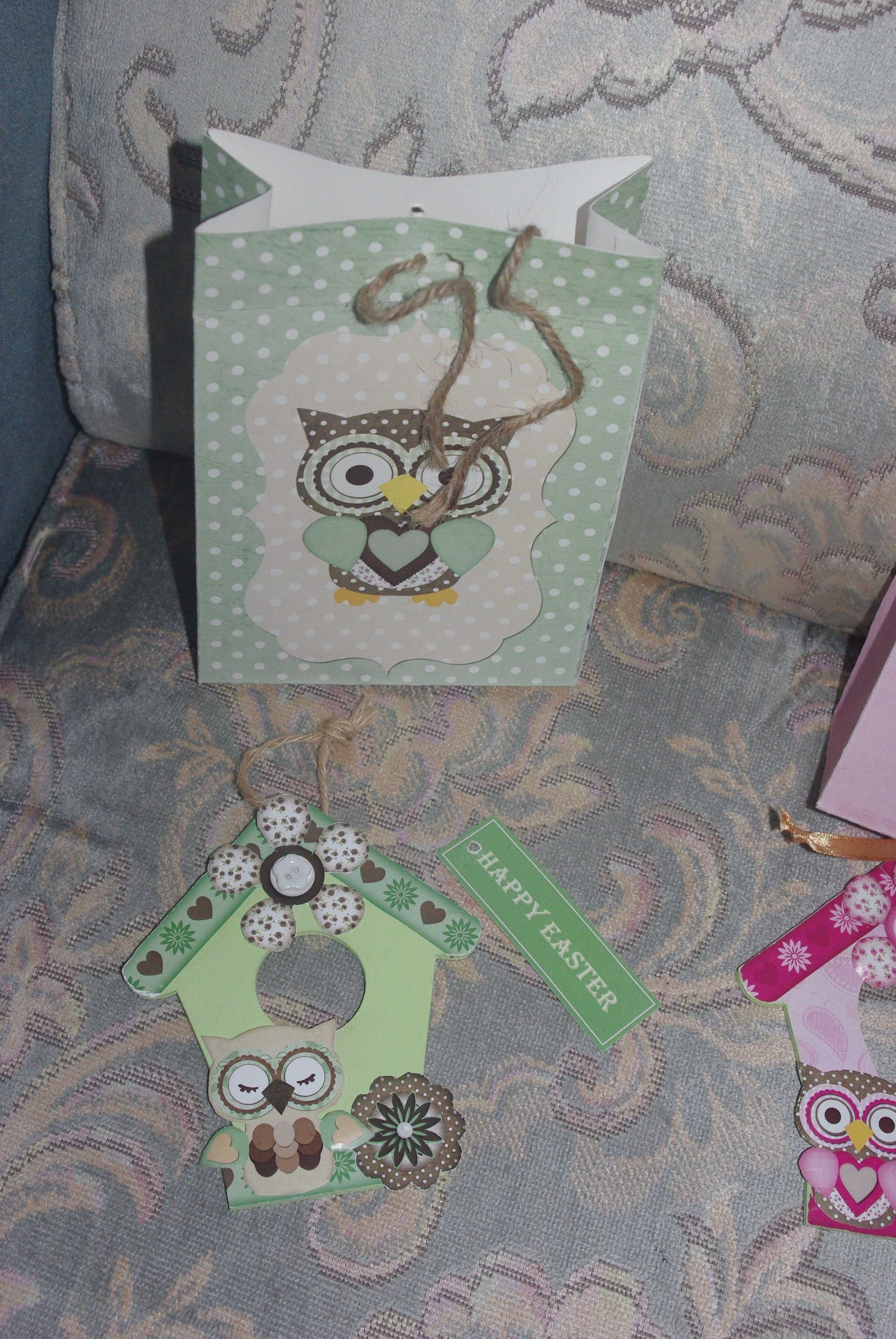 Owl gift bag with handmade birdhouse themed plaque and happy owl gift bag with handmade birdhouse themed plaque and happy easter gift tag easter negle Image collections