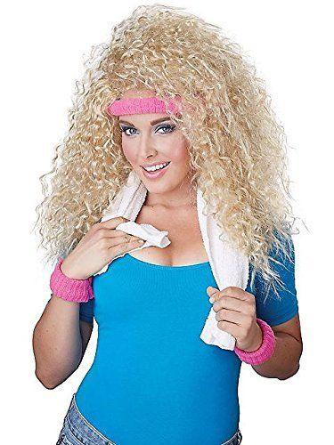 80s Aerobics Wig Headband And Sweatband Set