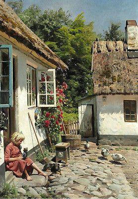 Huge Oil painting Peder Mørk Mønsted - Yard with Ducks little girl & dog canvas