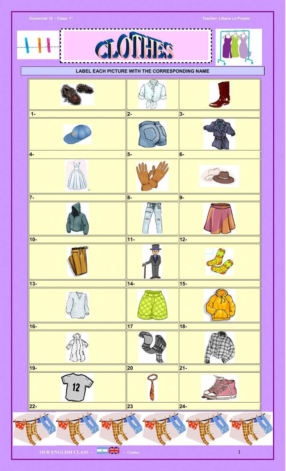 CLOTHES Interactive worksheet Worksheets, English as a