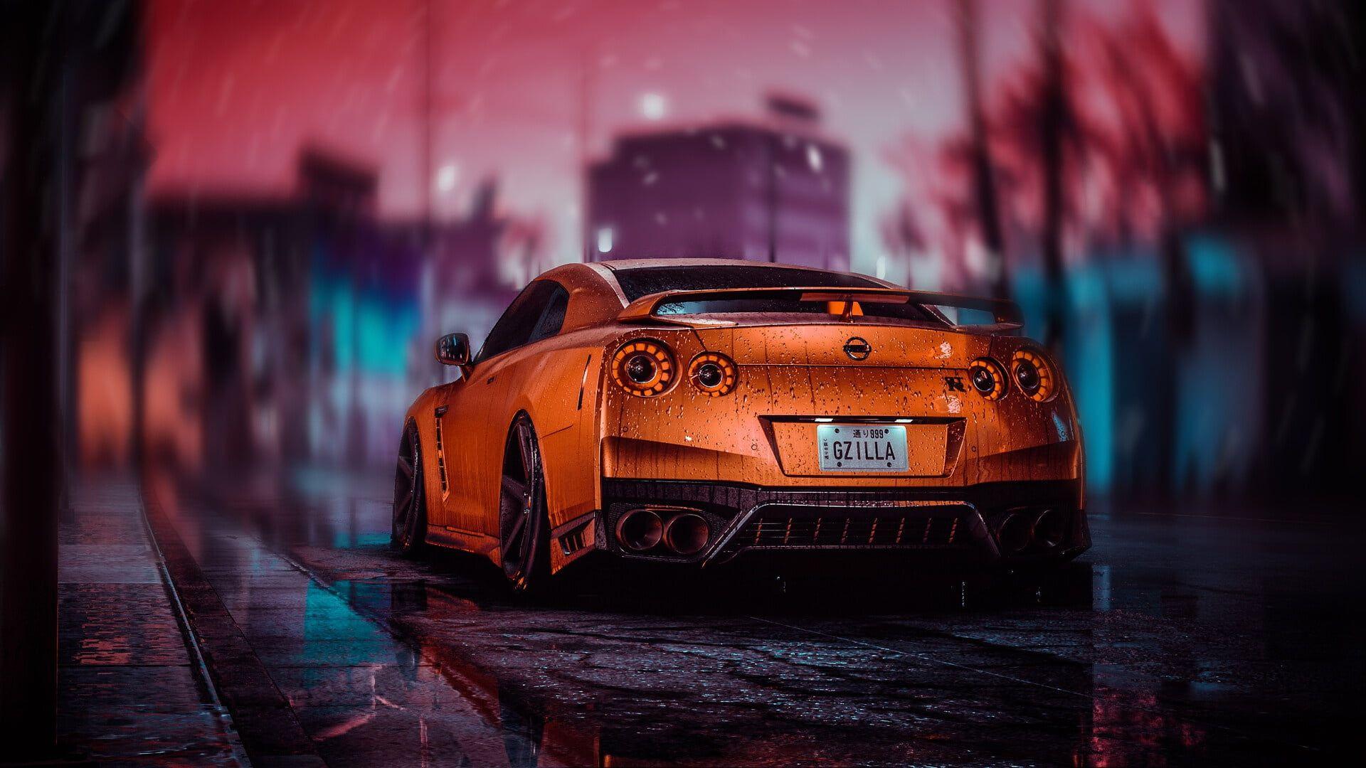 Orange Cars Digital Art Car Nissan Nissan Gt R Vehicle 1080p Wallpaper Hdwallpaper Desktop In 2021 Nissan Gtr Nissan Gt R Nissan Gtr Wallpapers