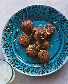 Plump meatballs, called keftedes in Greek, are flavored with mint and garnished with a shower of fresh lemon zest.