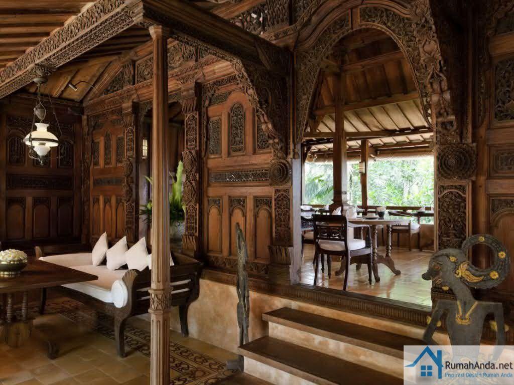 contoh desain interior rumah kayu jawa  rumah  House styles Rumah jawa Interior