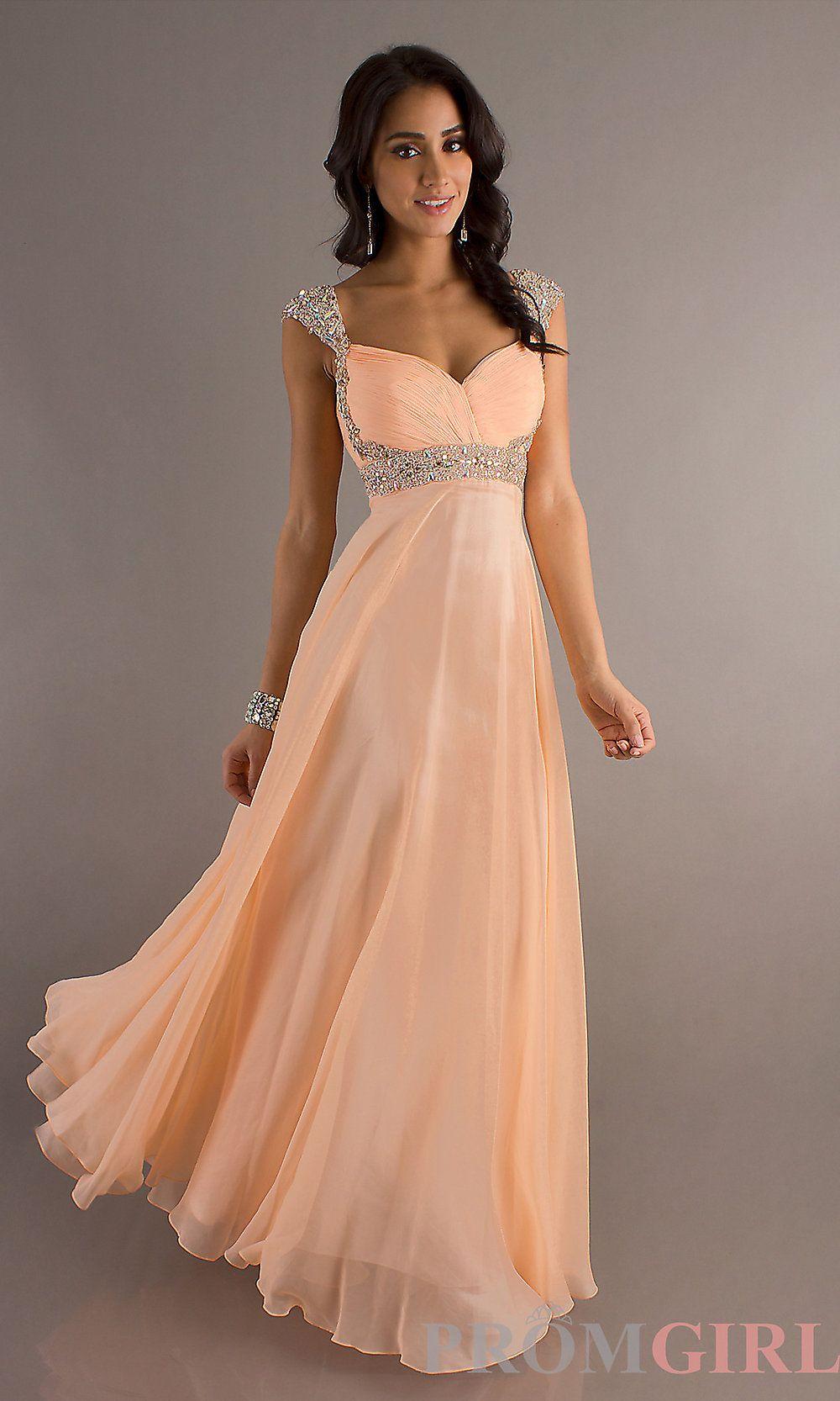 Long Cap Sleeve Prom Dress, Beaded Cap Sleeve Prom Gown- PromGirl ...