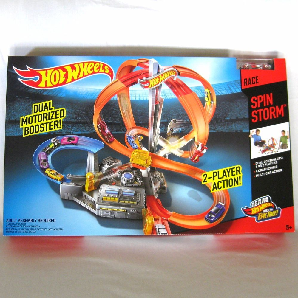 hot wheels race spin storm w dual motorized boosters loops. Black Bedroom Furniture Sets. Home Design Ideas