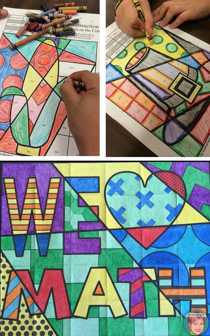 Art And Math Coloring Sheets For Holidays Math Coloring Maths Colouring Sheets Math Activities Elementary