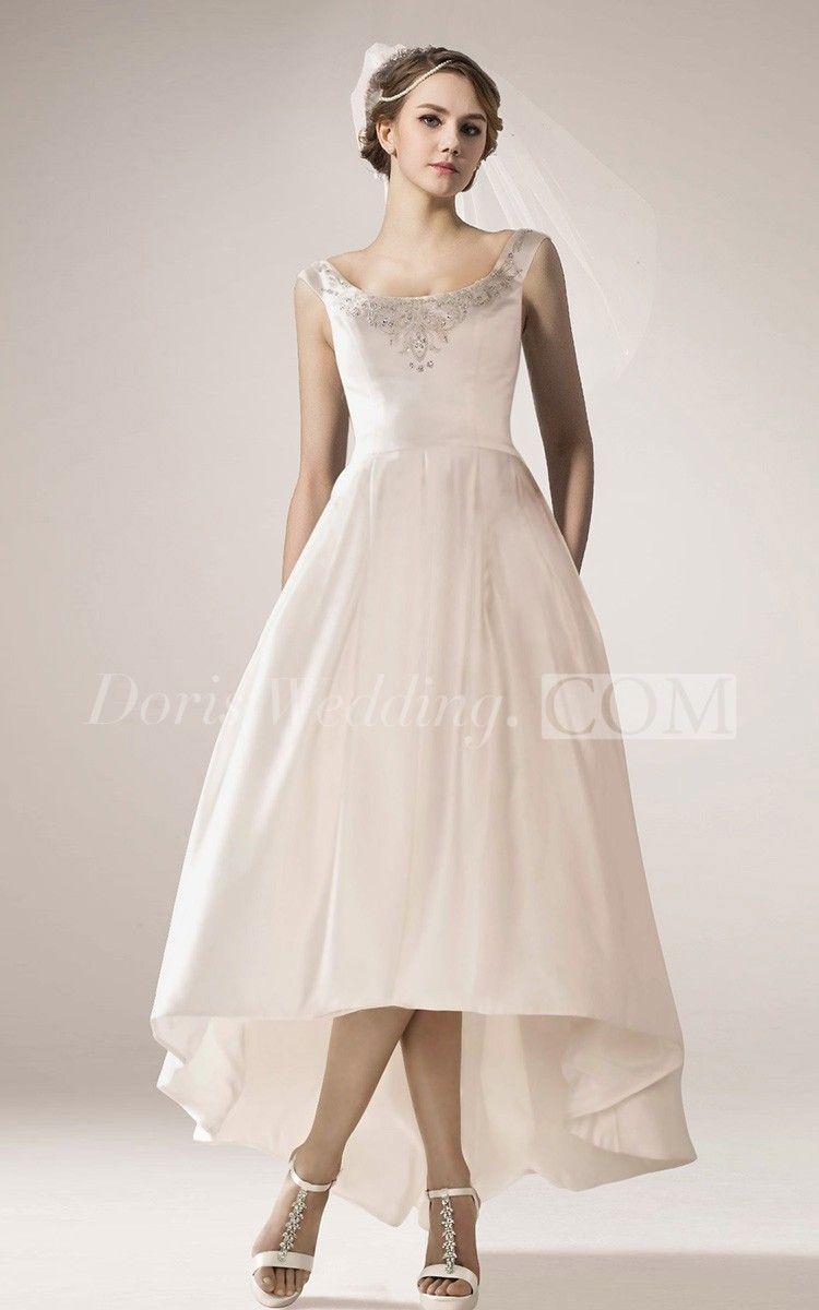 89 00 Vintage Style High Low Wedding Dress With Beaded Neckline Http Www Doriswedding Com Wedding Dresses High Low Vintage Satin Dress Short Wedding Dress [ 1200 x 750 Pixel ]