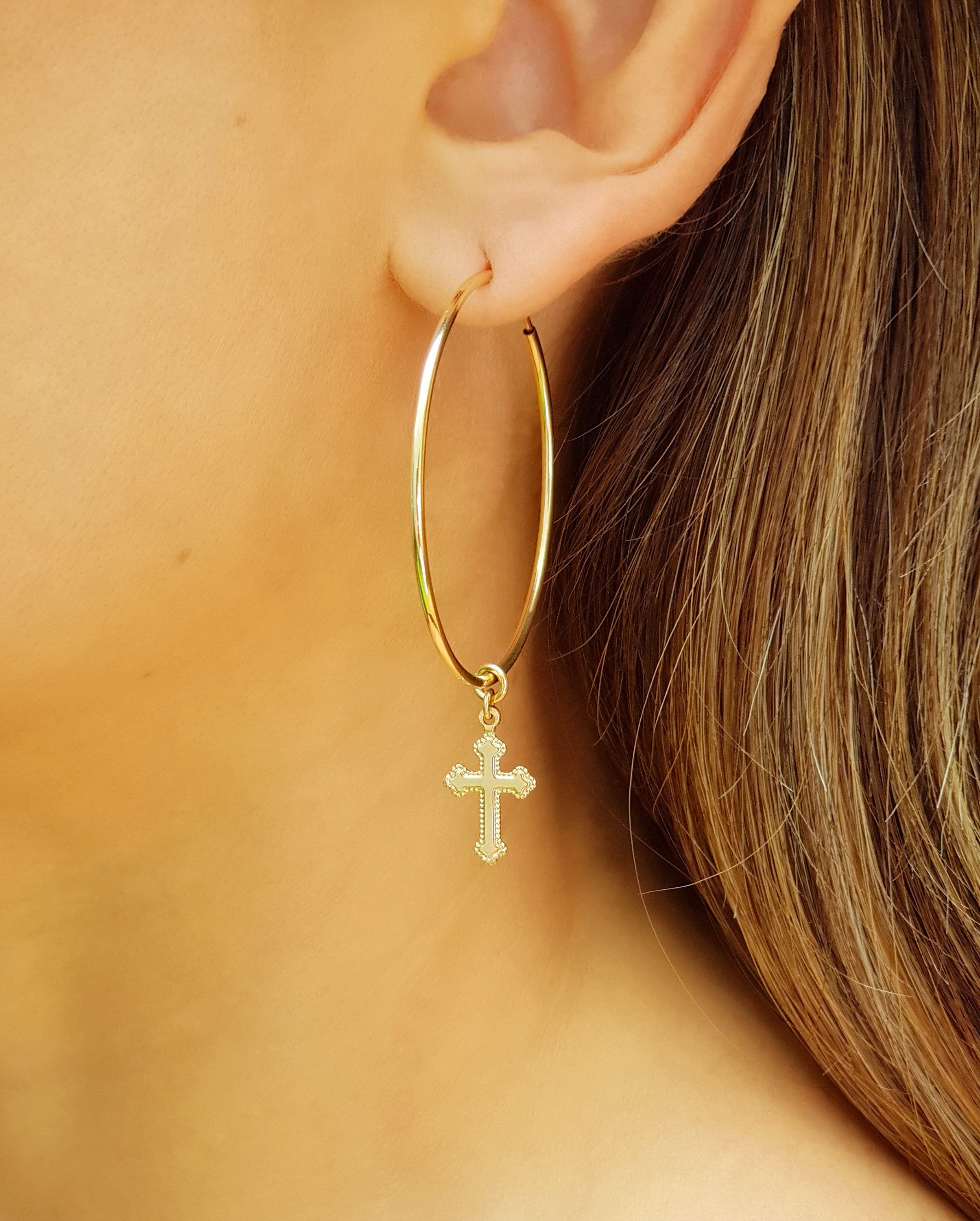 New Addition To My Etsy Small Cross Hoop Earrings Gold Filled