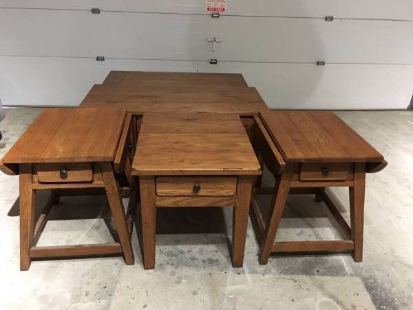 Broyhill Attic Heirlooms 2 Splay Leg Table And 1 End Table In Oak Stain Oak Stain Broyhill Furniture Collection