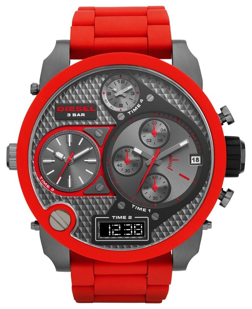 b4f05efb480 Diesel Original DZ7279 MR DADDY Multiple Time Chronograph Red Watch Brand  NEW!  Diesel  LuxurySportStyles