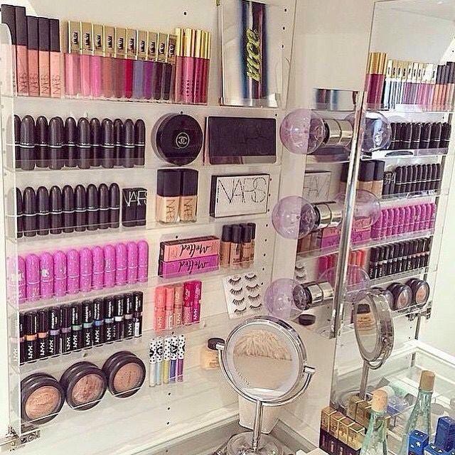 Clear Acrylic Wall Mounted Nail Polish Holder As Makeup Organizer On Wall Or In Cabinet Makeup Storage Makeup Organization Makeup Display