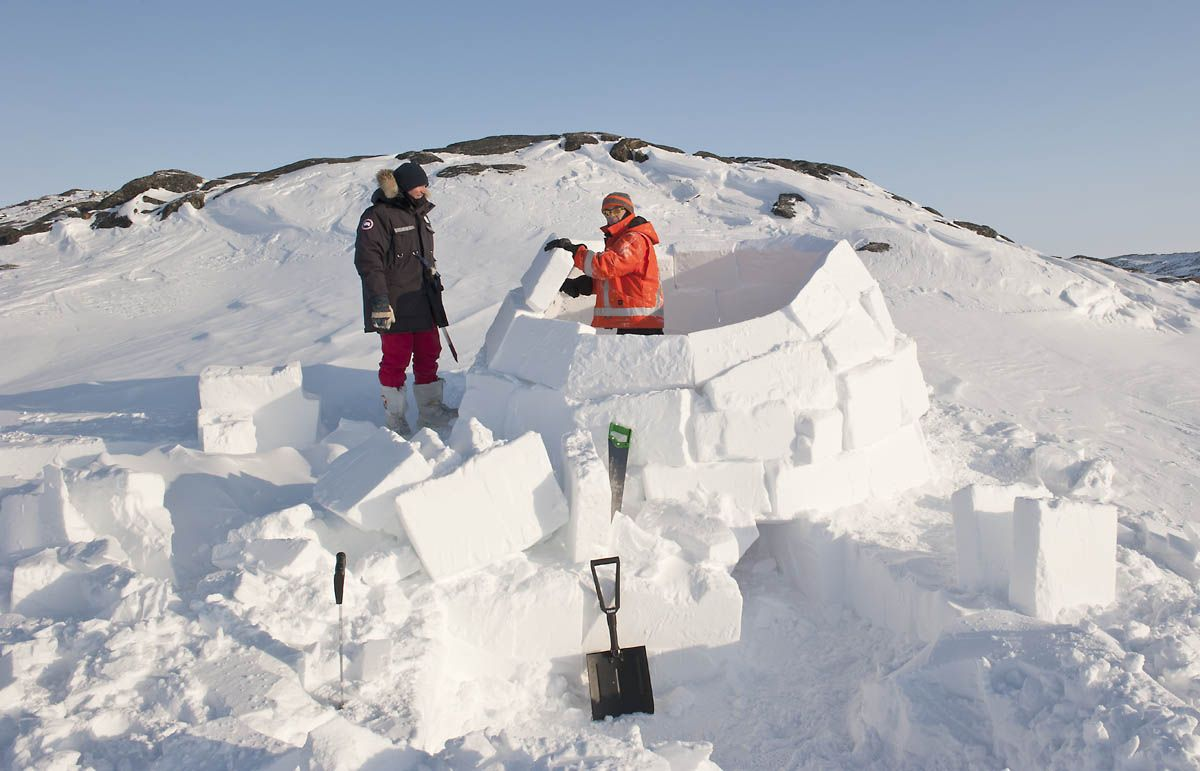 "Igloo Building Competition With Fake ""snow"" Blocks"