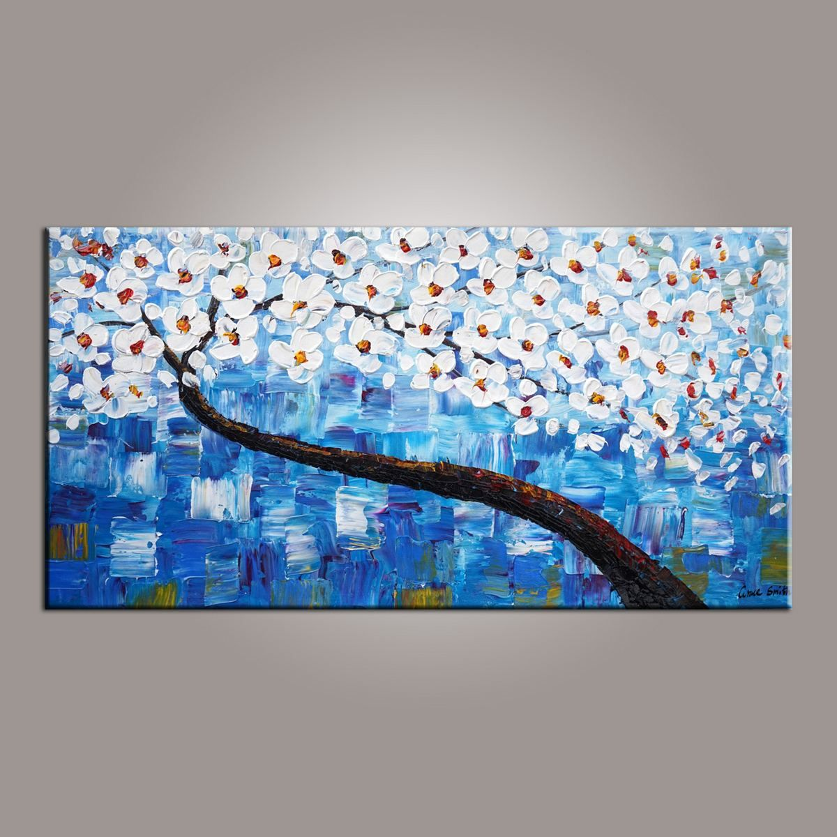 Canvas Art Blue Flower Tree Painting Abstract