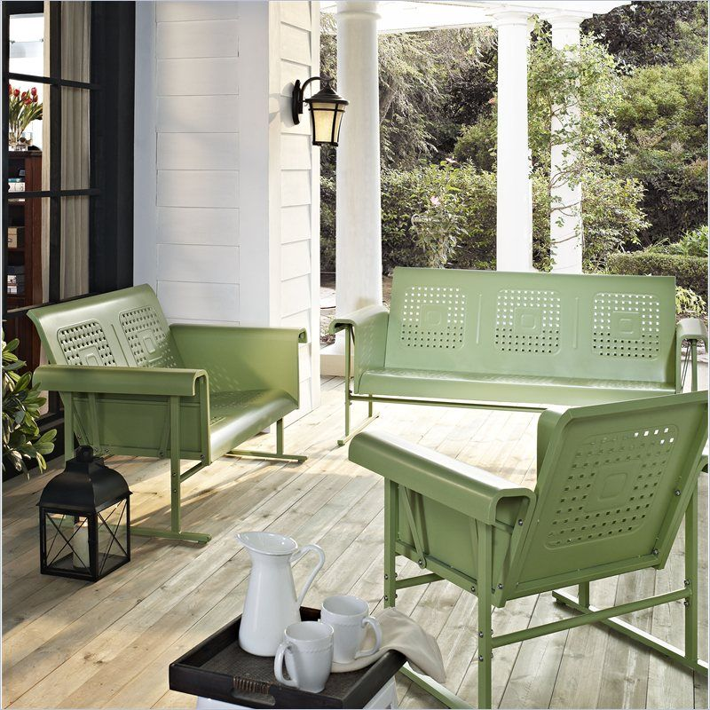 Crosley Furniture Veranda 3 Piece Glider Set In Oasis Green Veranda Furniture Vintage Style Sofas Garden Furniture Sets