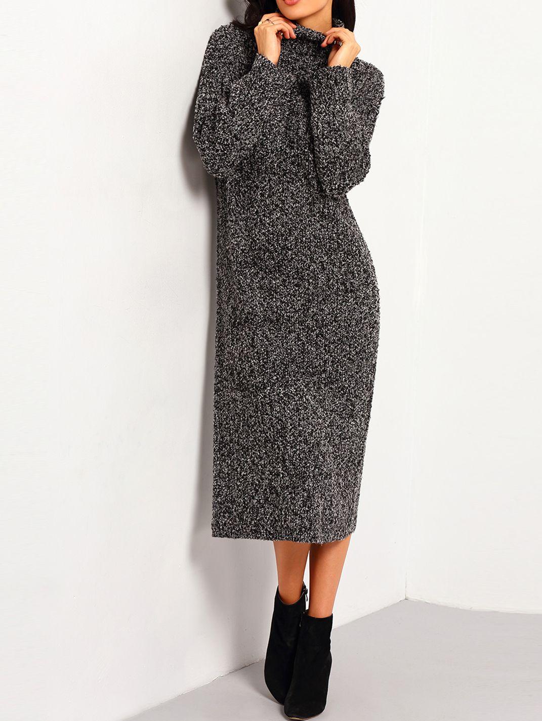 Black turtleneck long sleeve sweater dress dress online and black