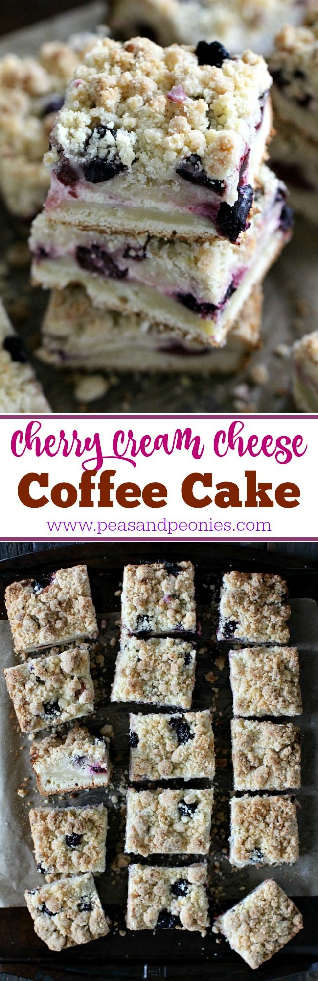 This Cherry Cream Cheese Coffee Cake Is Made With A Cake Layer