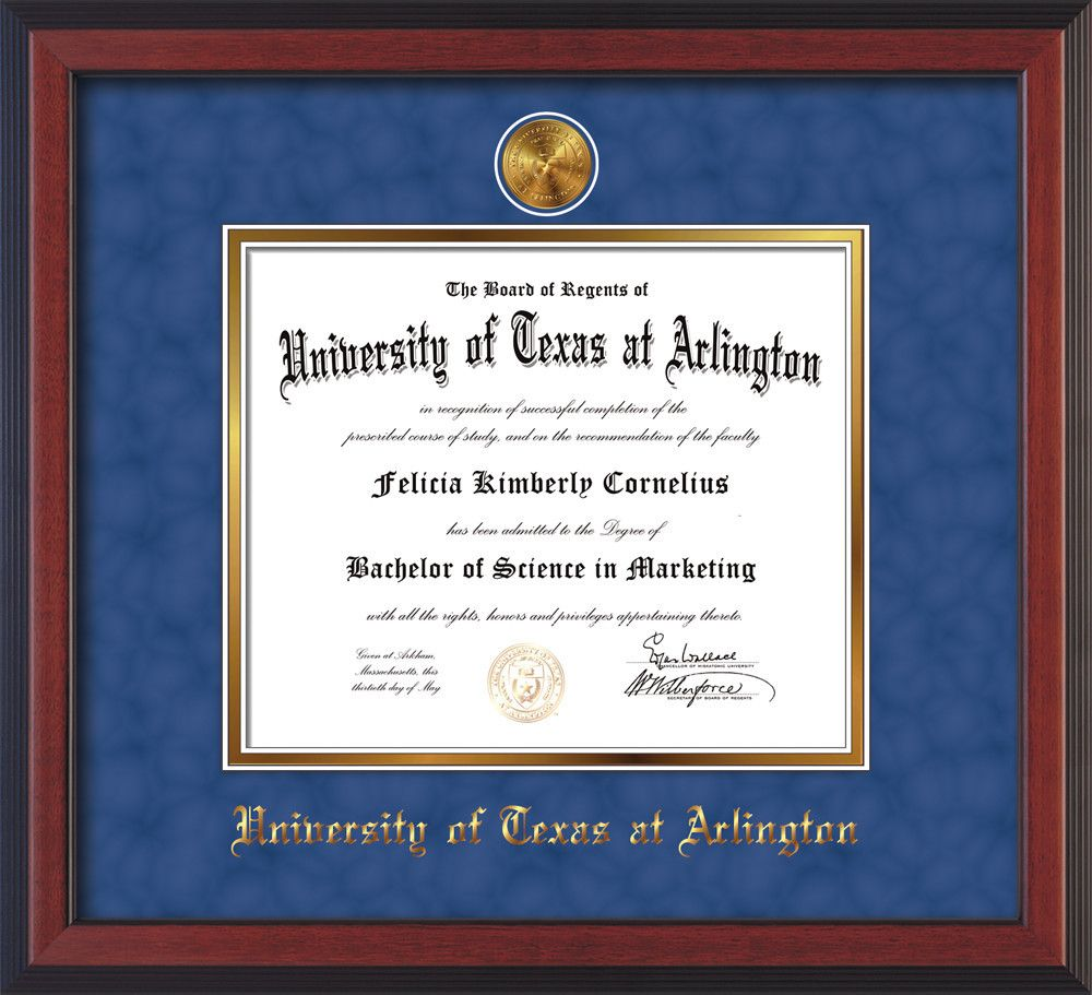 University of Texas - Arlington Diploma Frame - Cherry Reverse - w ...