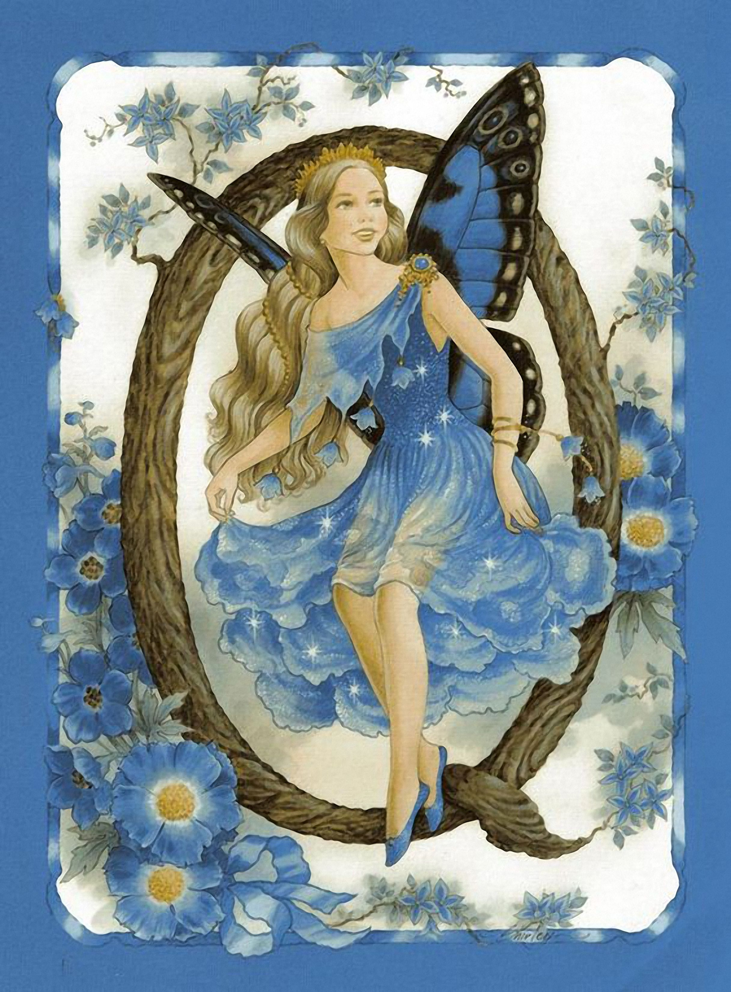 Shirley Barber Butterfly Wing Fairy Letter Extra Large Art Deco Fairies