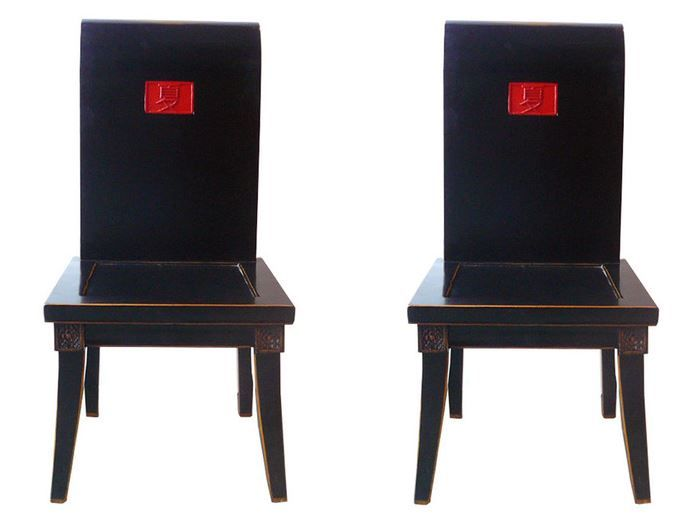 """Chinese black lacquer """"Summer"""" chairs."""