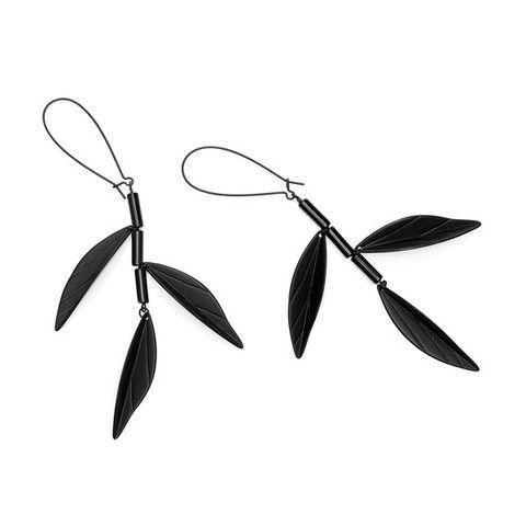 BAMBOO EARRINGS - BLACK