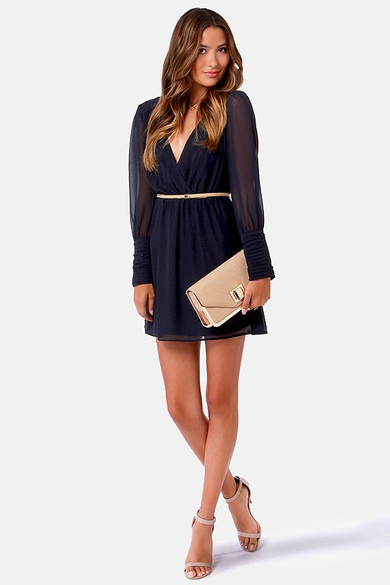 63f65dc2fc8a On the Wrap Navy Blue Long Sleeve Dress | My Style | Dresses ...