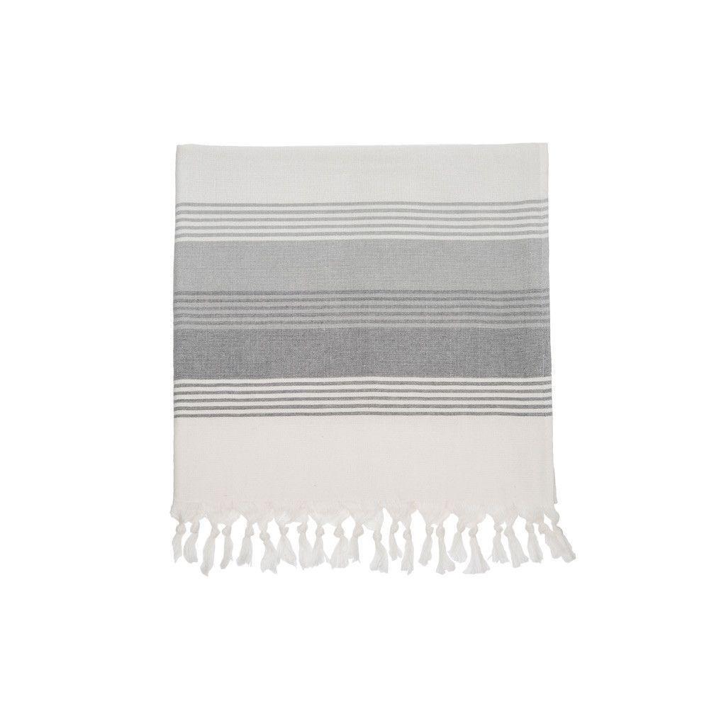 Milazzo Stripe Fouta Beach Towel Grey Products Towel Beach
