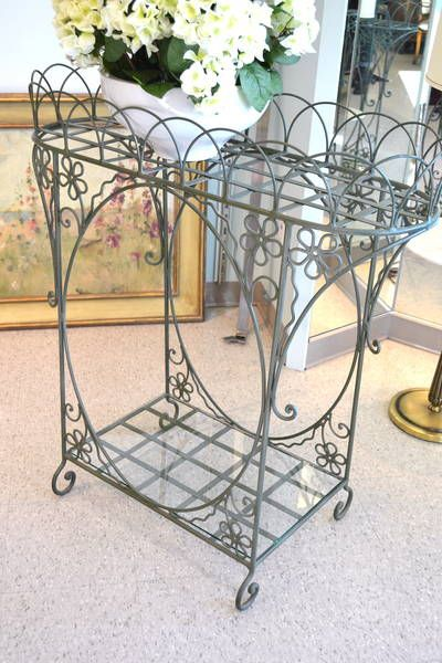2 Tier Sage Green Wrought Iron Plant Stand With Lower Glass Insert
