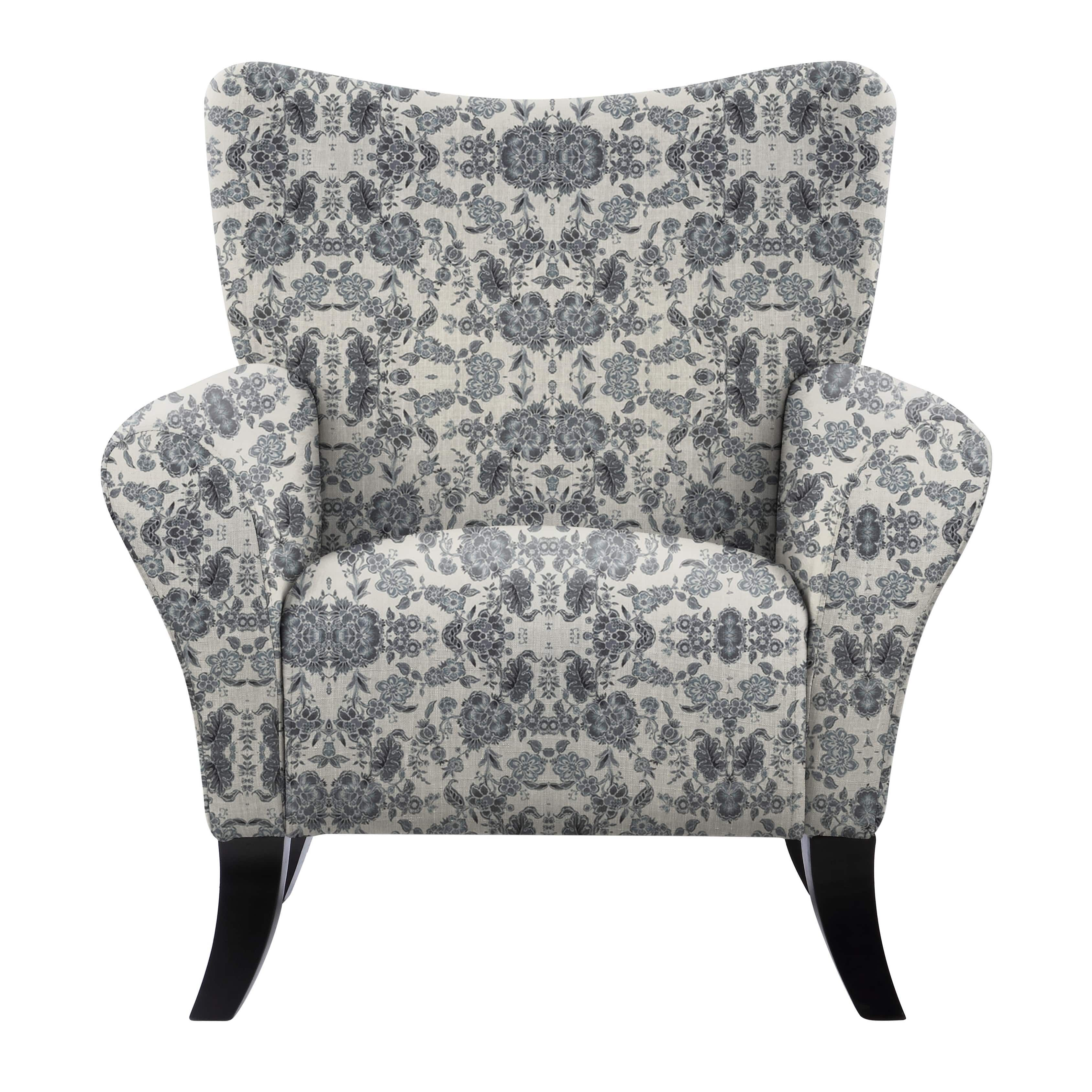 Blue Patterned Chair Natalia Mavier Blue Floral Fabric And Wood Accent Chair Beige