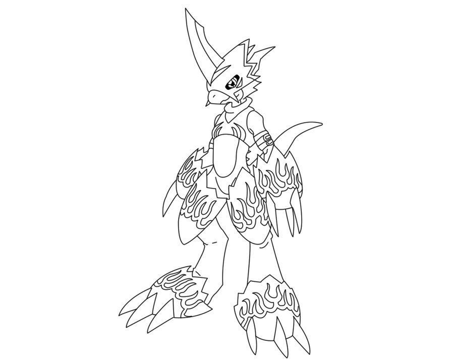 Flamedramon Lineart By Animemaniaco Art Coloring Books Digimon