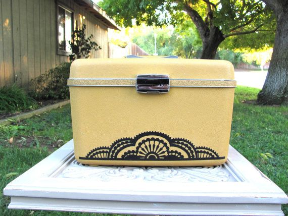 Gorgeous Osh Kosh Mustard Yellow Train Case with doily by KeepUp, $28.00
