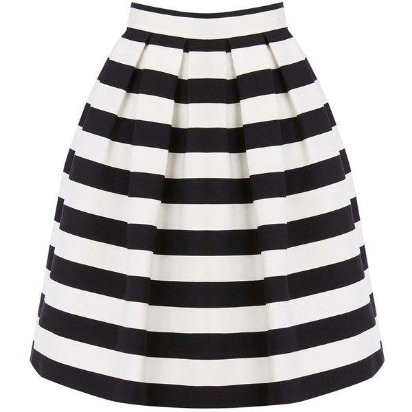 Warehouse Stripe Prom Skirt Black White 39 Liked On