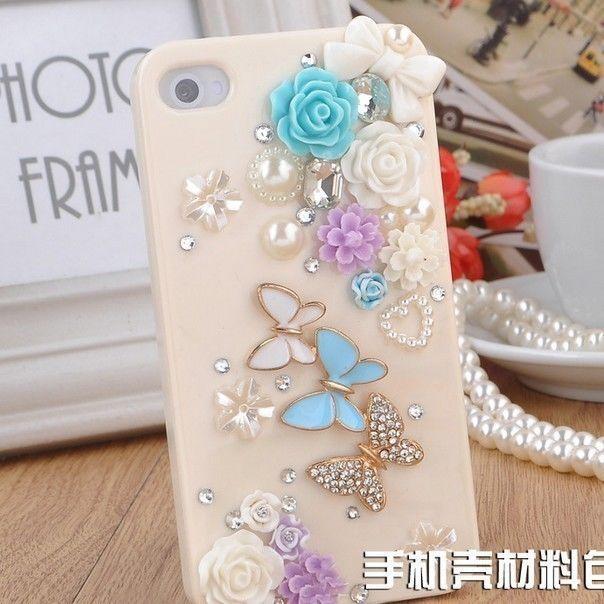 Cute Butterfly Rhinestone Flower Bling DIY for iPhone 5 5S 5G Case Deco Den Kit