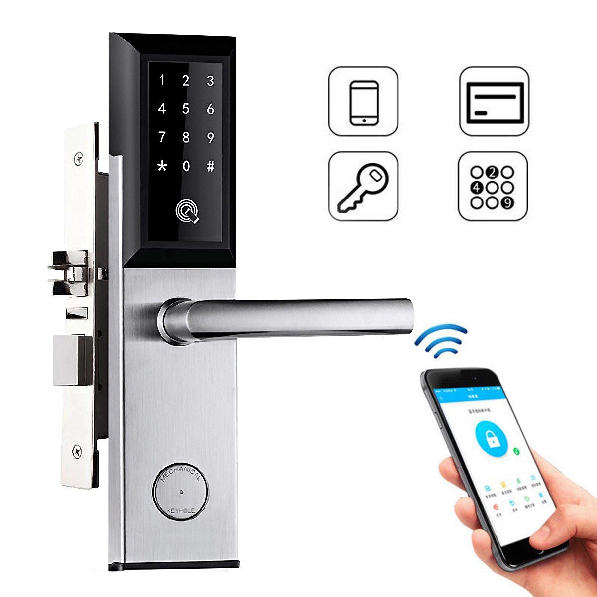 Wifi Bluetooth Silver Cipher Remote Smart Door Lock Cell Phone Key