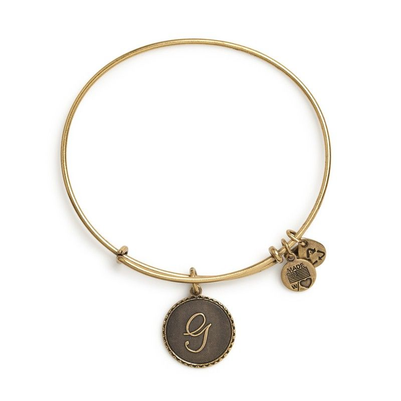 """Initial """"G"""" Charm Bracelet in Gold by Alex and Ani"""