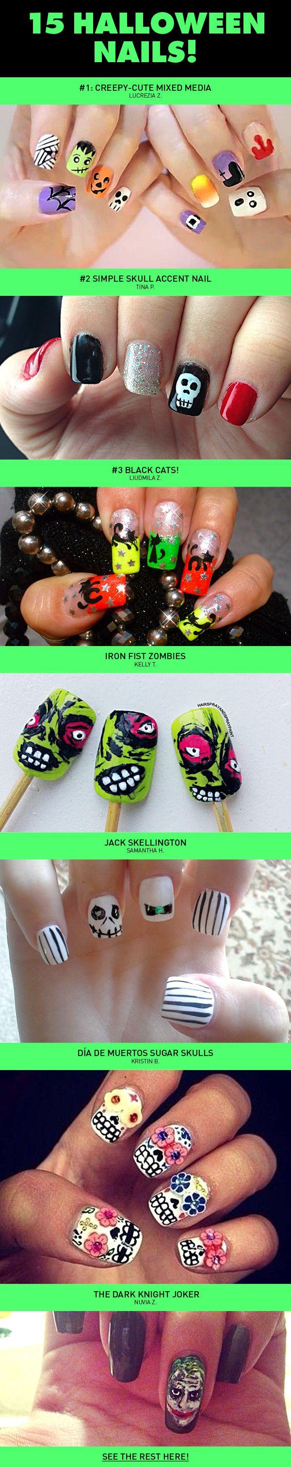 15 Halloween Nail Art Looks | Halloween, Decoración de uñas y ...