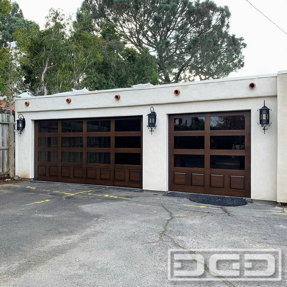 Modern Wood Glass Style Garage Door For A Home Gym Idea In 2020 Garage Doors Glass Garage Door Garage Exterior