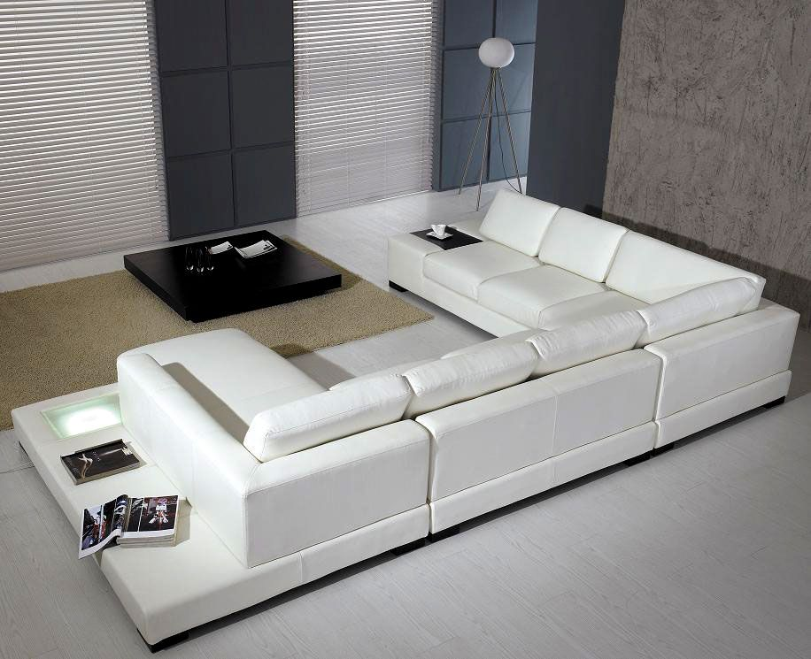 [Furniture] Modern Decor White Leather Sofa Set: Ultra Modern Sectional Sofa  Made Entirely Of Beautiful White Leather