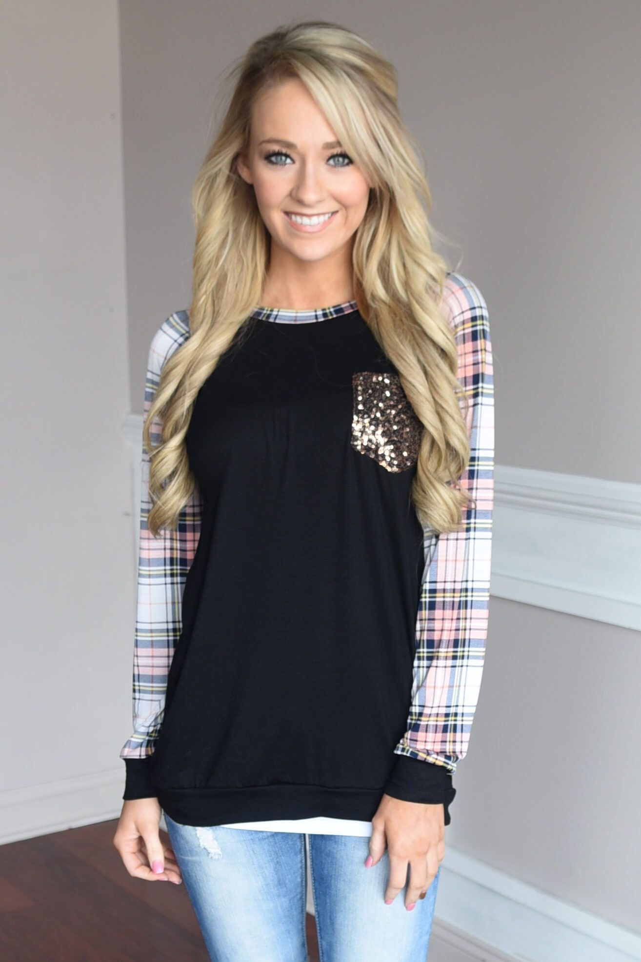 Plaid Glam Top ~ Pink