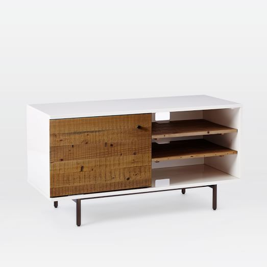 Reclaimed Wood + Lacquer Storage Short Media, Reclaimed Wood / White - Wood + Lacquer Storage Short Media, Reclaimed Wood / White