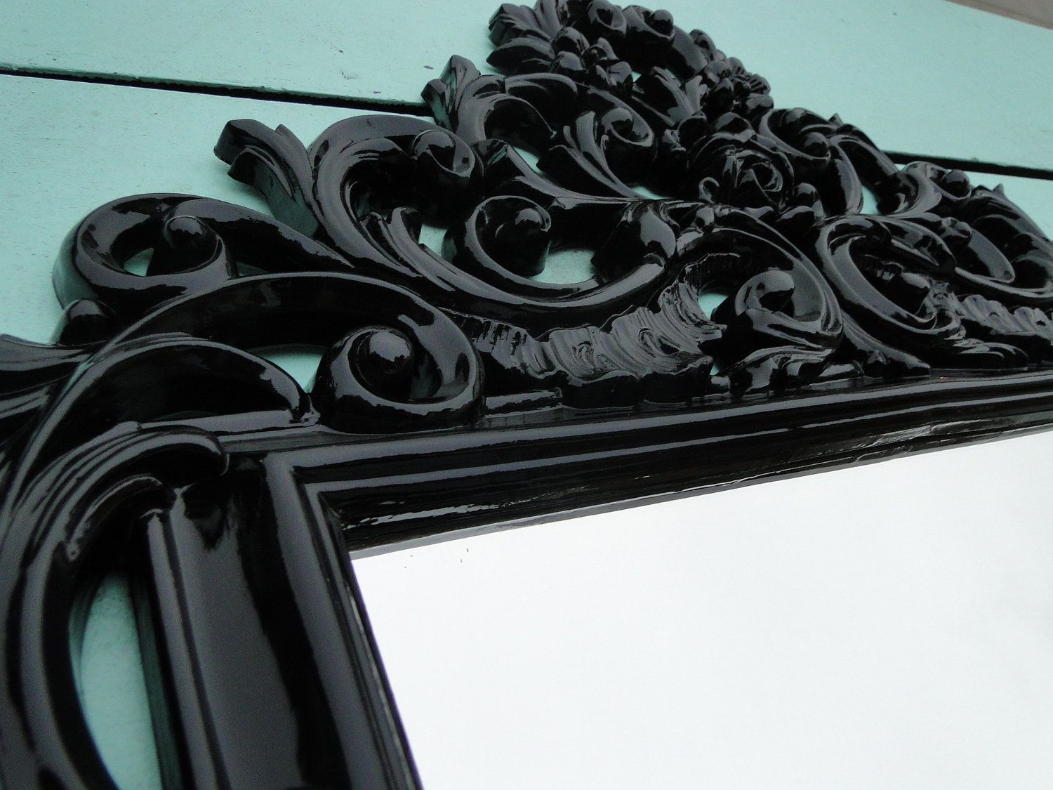 Large ornate vintage gothic mirror wall mirror glossy black frame large ornate vintage gothic mirror wall mirror glossy black frame hollywood regency paris apartment french country romantic gatekeeper amipublicfo Gallery