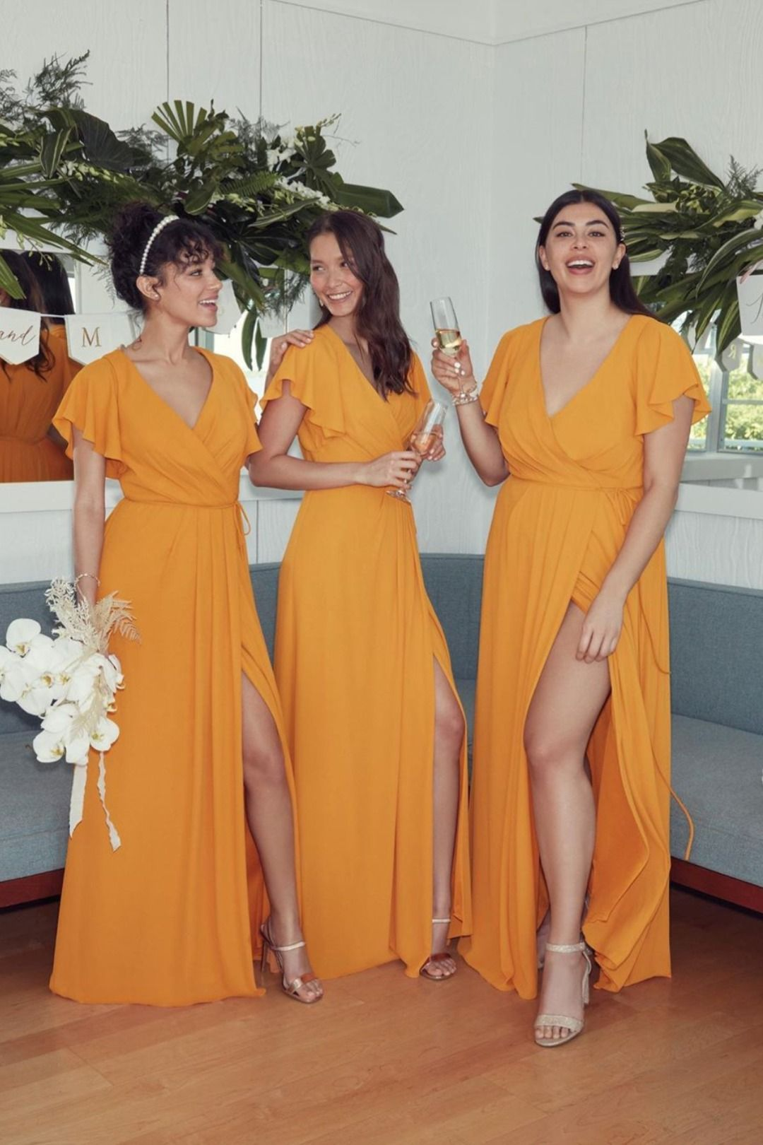 Flutter sleeves mustard yellow chiffon bridesmaid dress