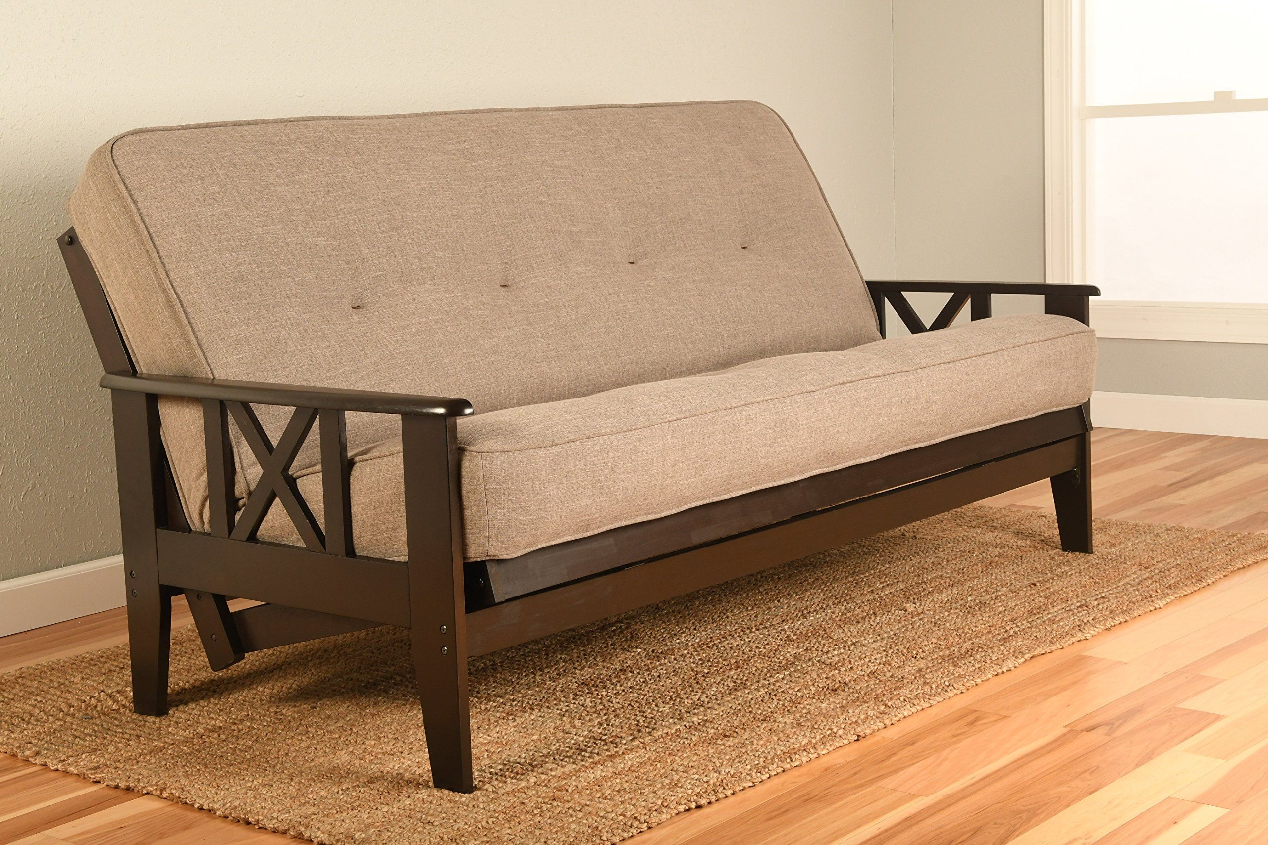 Montreal x espresso futon frame w quality 8 inch innerspring mattress sofa bed set full size stone linen matt and frame only to view further for this