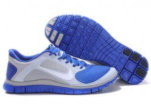 Nike Free Run 4.0 V3 Mens Shoes Breathable Silver Blue