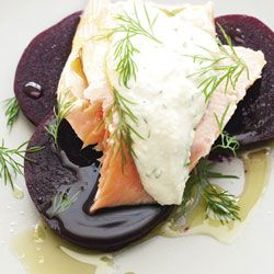Poached salmon with pickled beetroot & dill & horseradish romesco