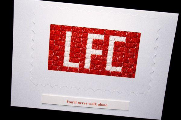 Image Of Hand Embroidered Handmade Liverpool FC Birthday Card