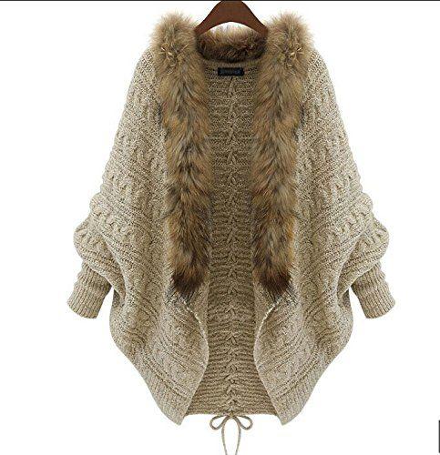 5cc4c5759 Amazon.com   Leshery Womens Autumn Winter Warm Coat Fur Collar Bat ...